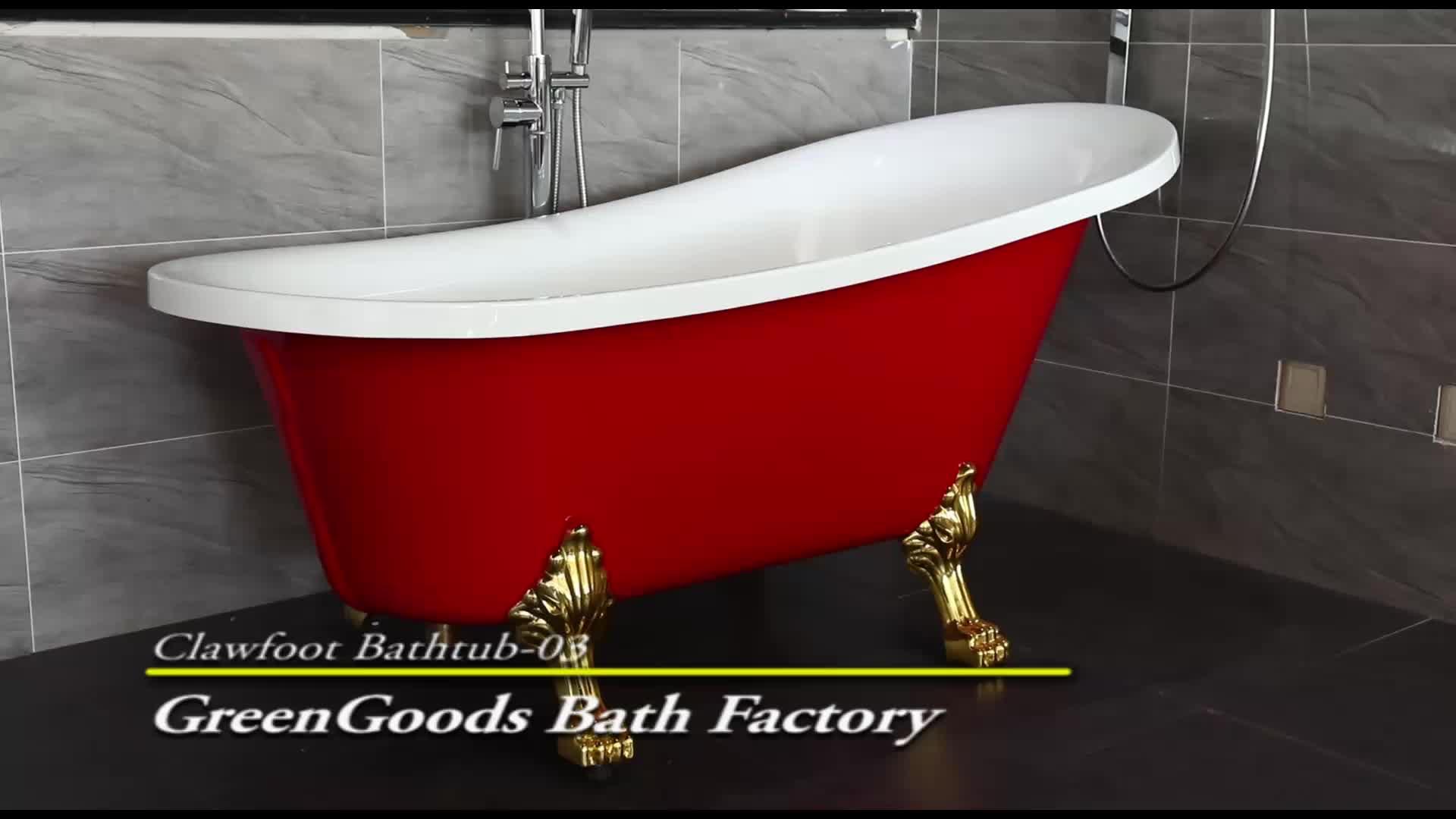 GreenGoods Bath Factory Japan Red Beverage Antique Tub