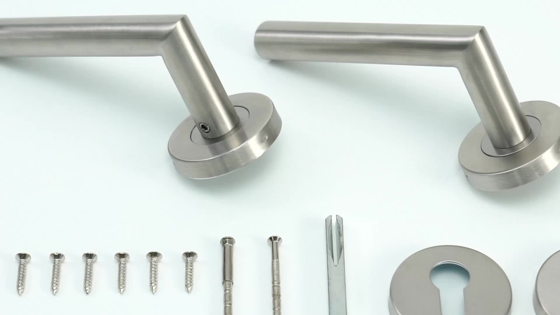 Custom Made Stainless Steel Hollow Euro Profile Version Door Lever Handle Hardware