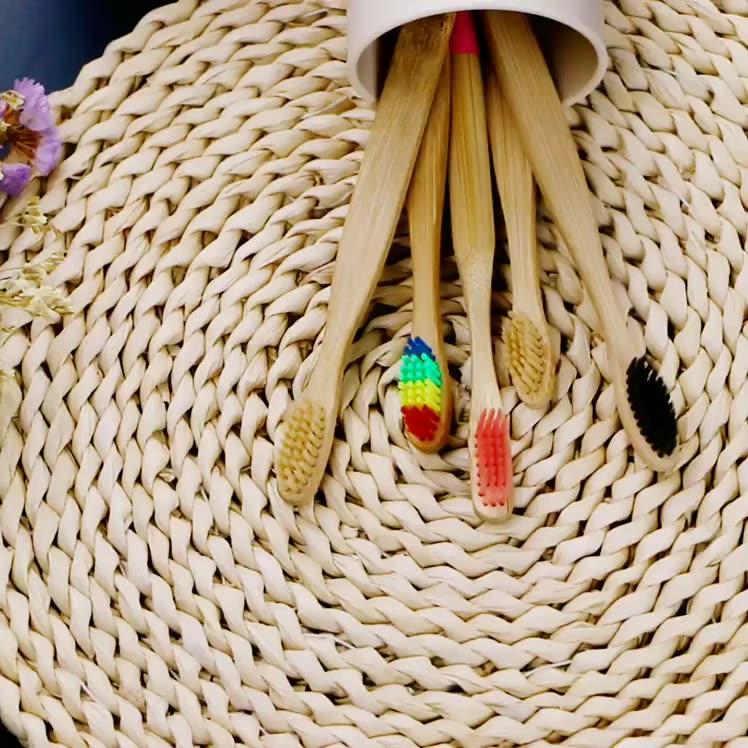 Sikat Gigi Bambu Lembut Bulu Sikat Gigi Anak-anak Orang Dewasa Bambu Sikat Gigi Biodegradable Ramah Lingkungan Arang Bambu Alami