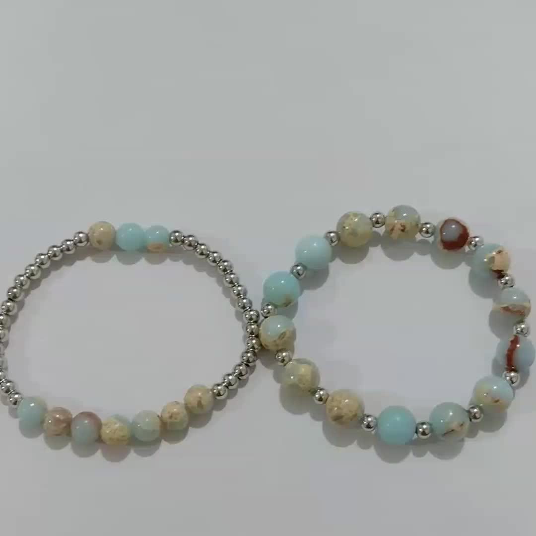Fashion Women Fancy Accessories Blue Stone Gemstone Snake Bracelet Silver Copper Spacer Bead Bracelet Set