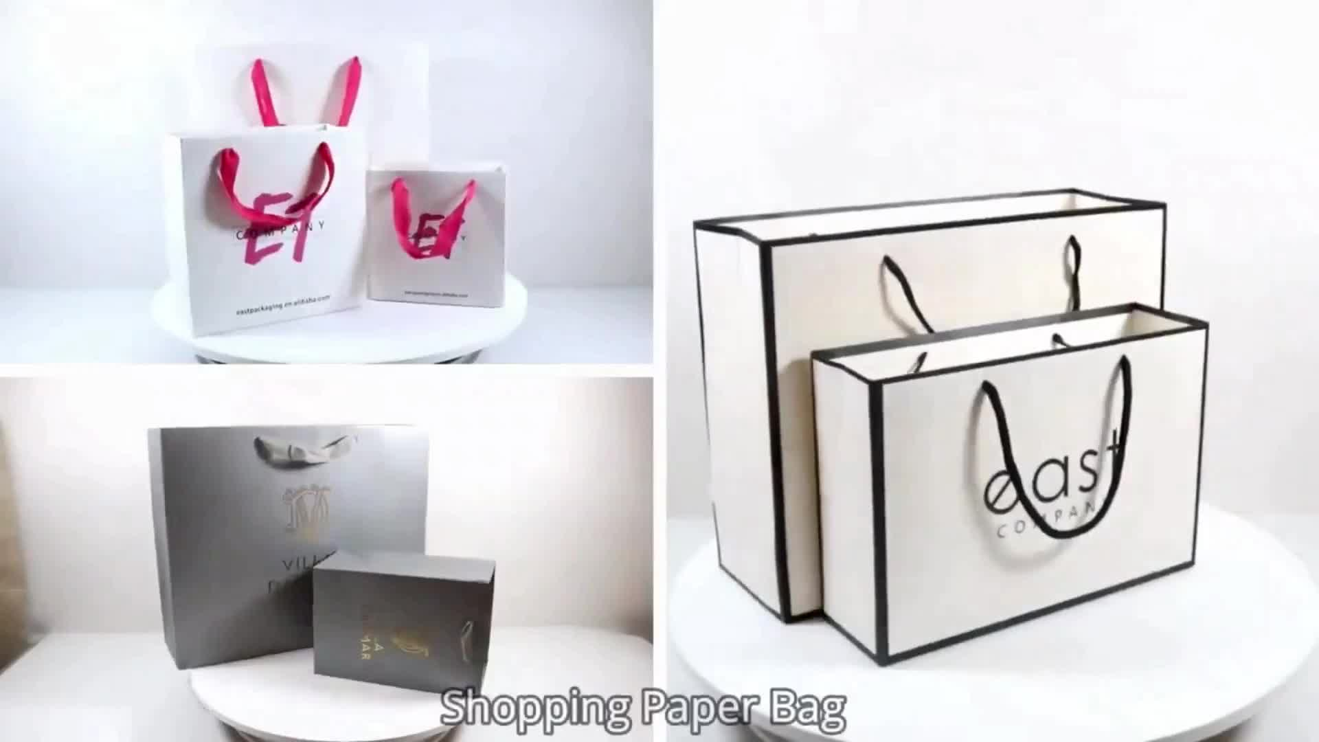 Custom Made Luxury Paper Shopping Gift Bag Low Cost Recyclable White Art Paper Bag