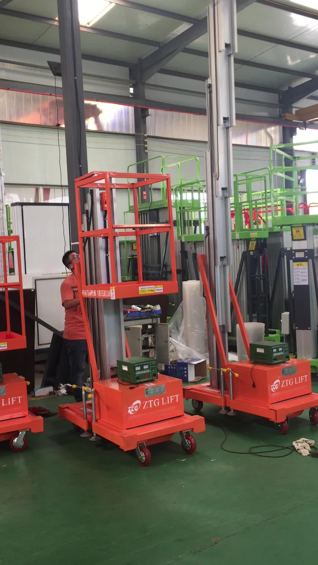जिनान एल्यूमीनियम मस्तूल लिफ्ट मंच के लिए उतारा-8 m एकल columned हवाई काम/लिफ्ट मंच/हाइड्रोलिक manlift
