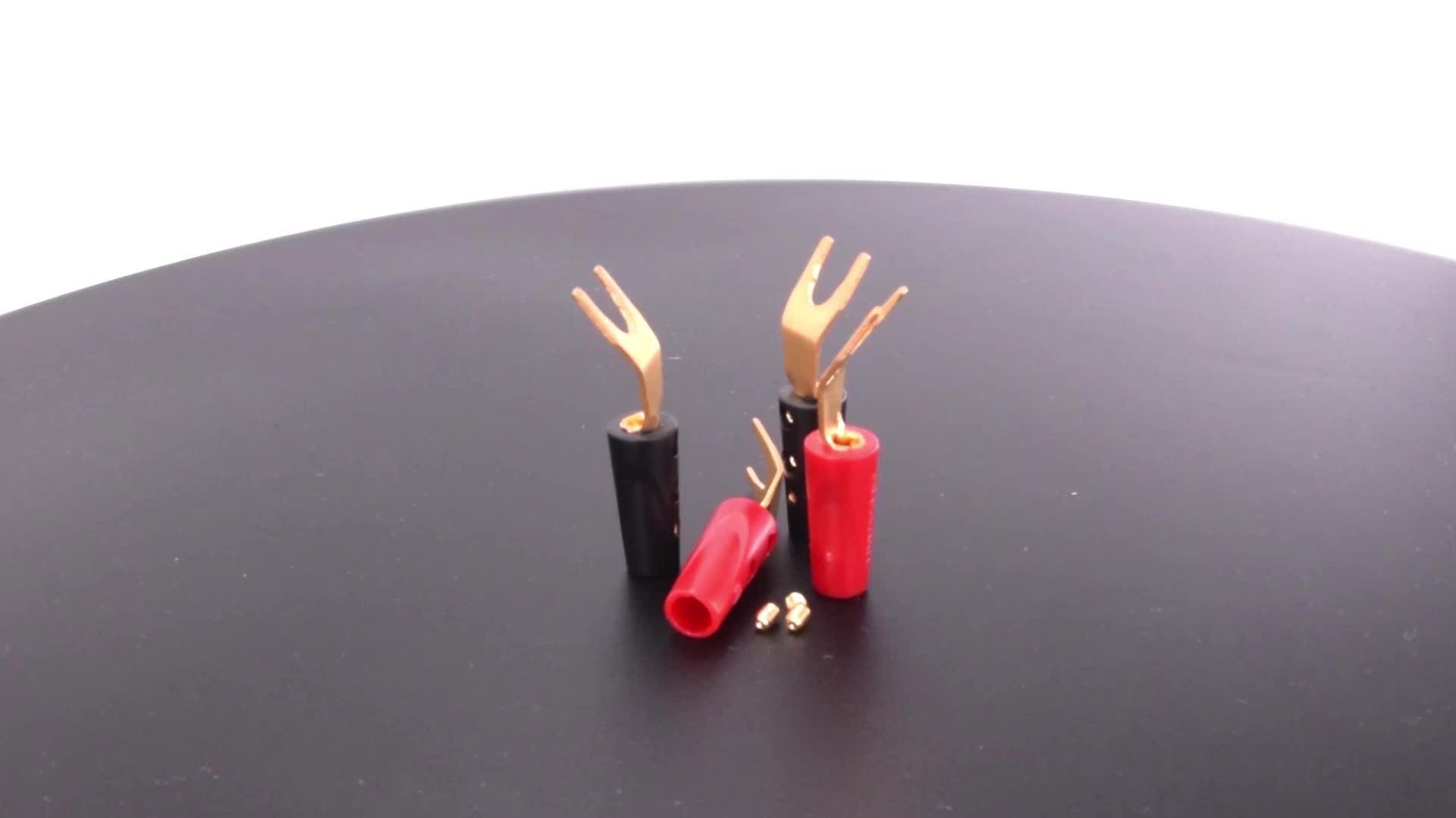 Lock screw quick connect Y spade plug speakon connector