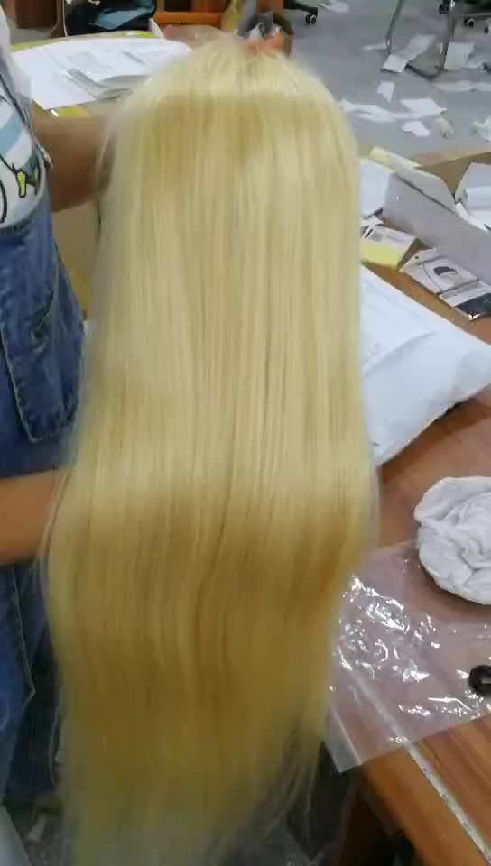 Wholesale Cheap Pre Plucked 10a Peruvian Virgin Hair Lace Blonde Wigs 613 Full Lace Front Wig Human Hair