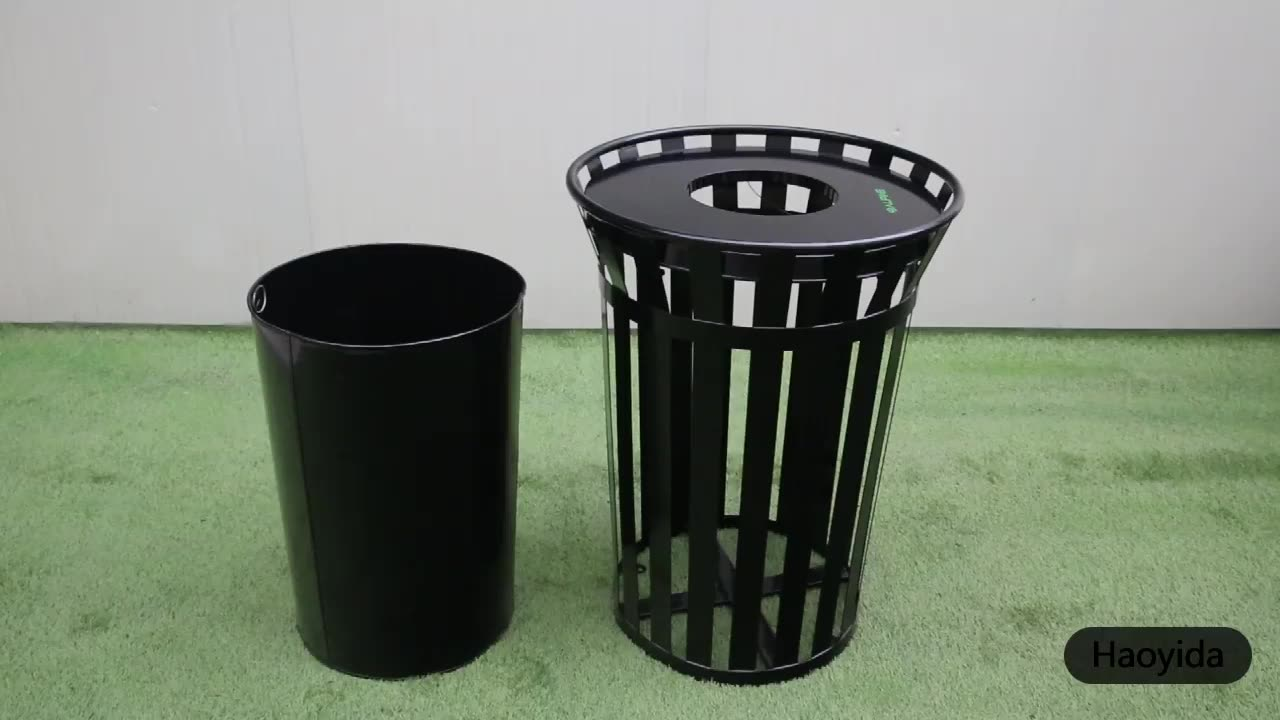 Haoyida Pop-up Industrial Metal Public Street Recycling Bin Garbage Trash Can Commercial Outdoor Container