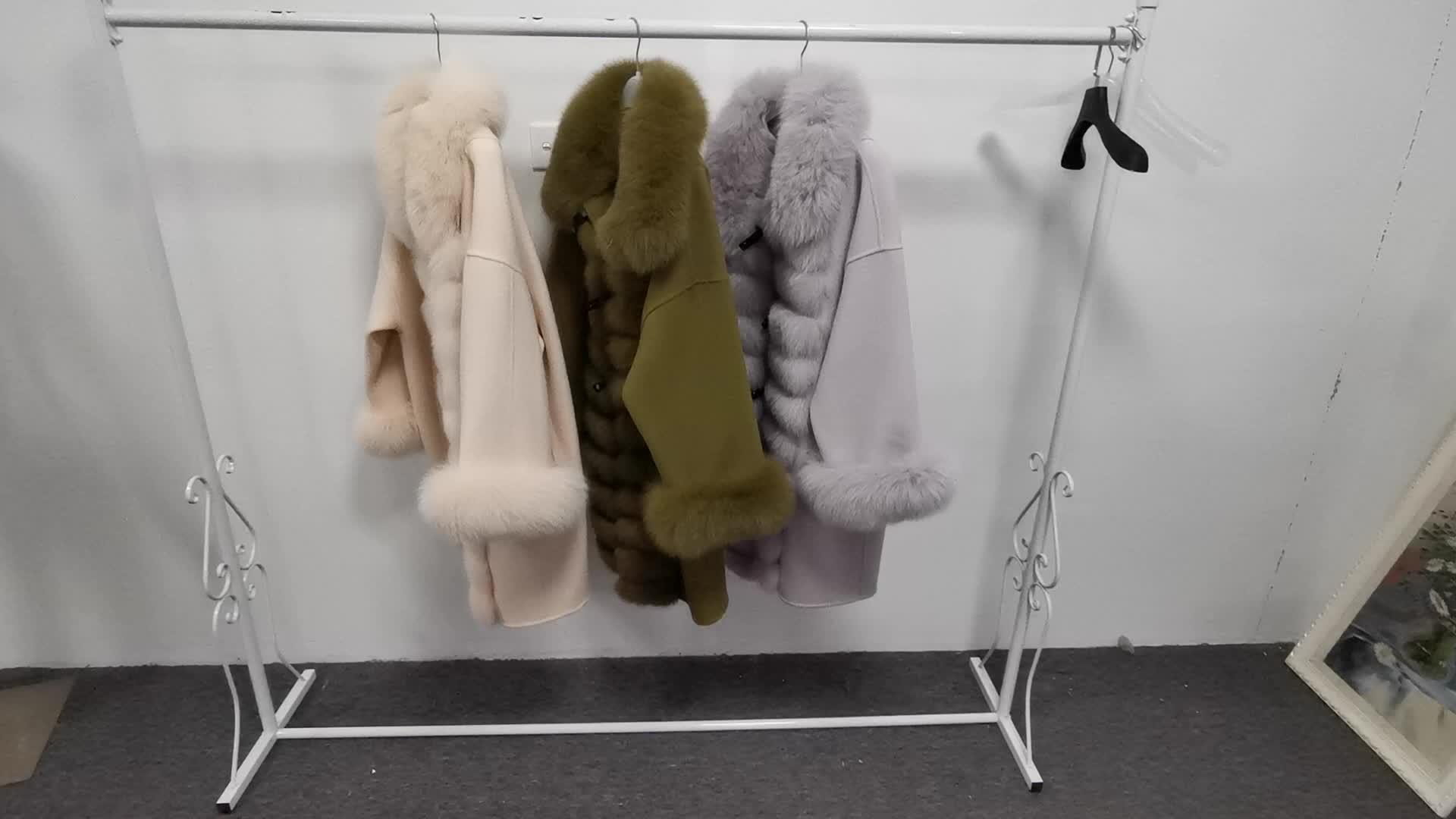 Fox Fur Trim Women Ladies Winter Coat Long Design