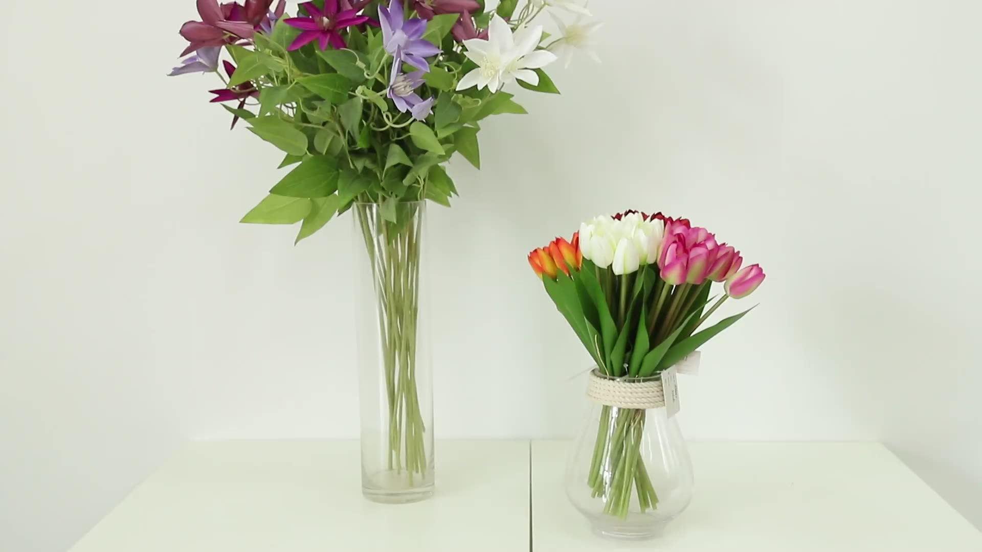 Groothandel 3 Heads Kunstmatige Clematis Bloem Zijden Doek Wit Roze Blauw Oranje Wedding Decoratieve