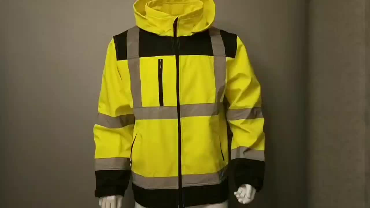 Zoohi — veste de sécurité fluorescente et étanche, avec capot amovible, manteau en tissu molletonné imperméable, jaune, pour travailleurs formels