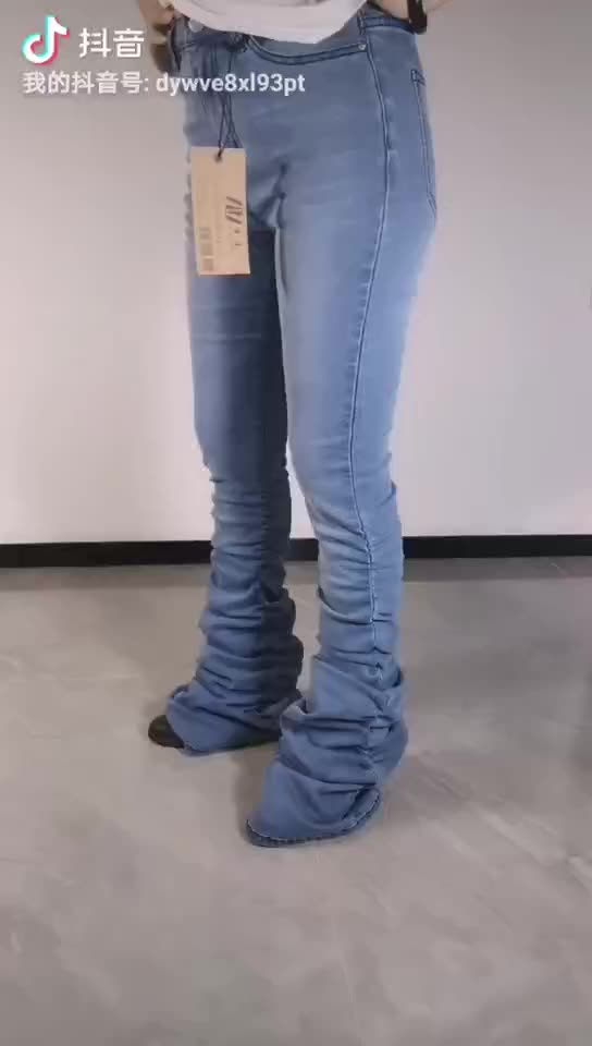 New design women's stacked jeans pants