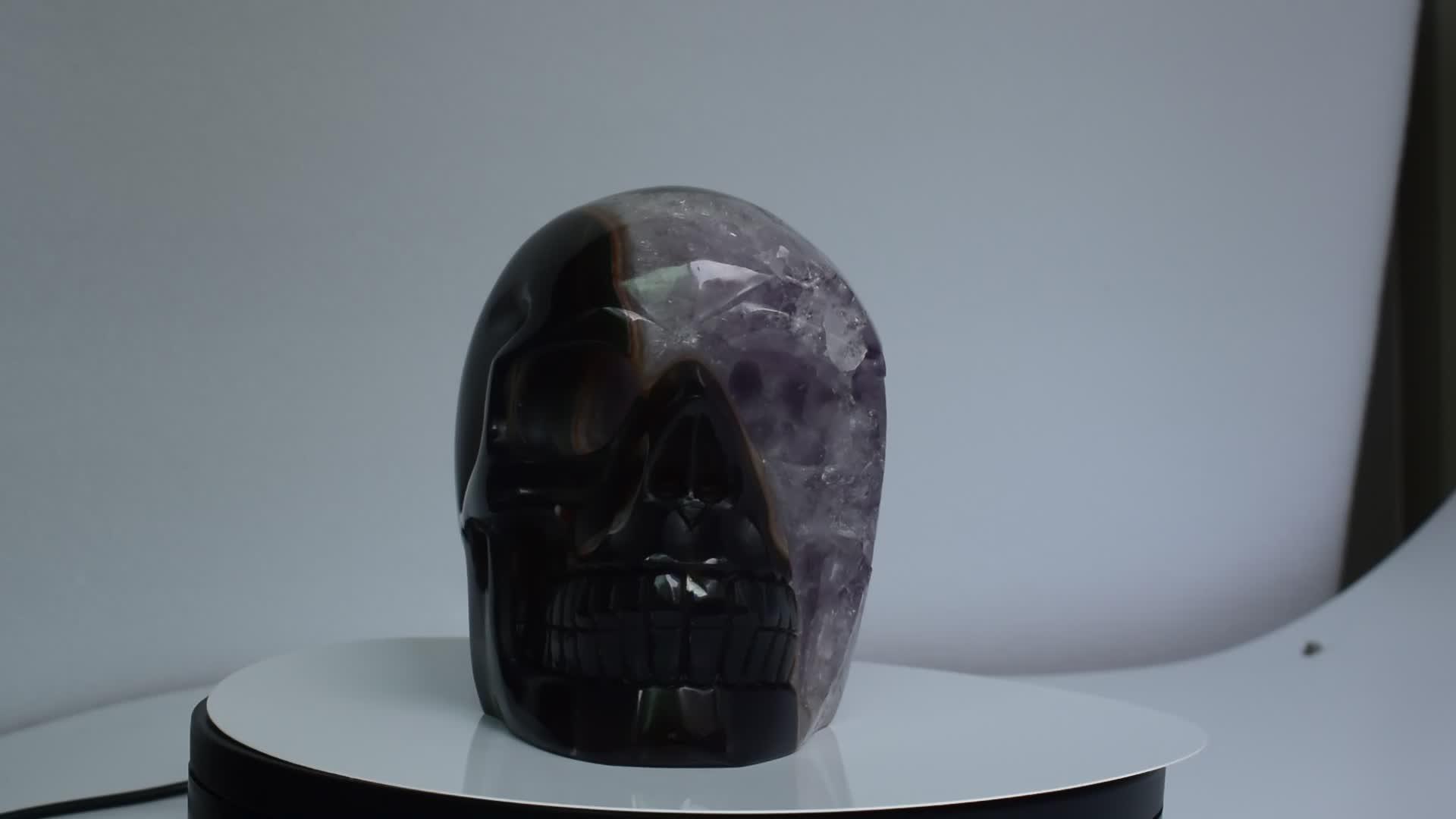 Cráneo de geoda de cristal tallado a mano al por mayor Natural de 100%