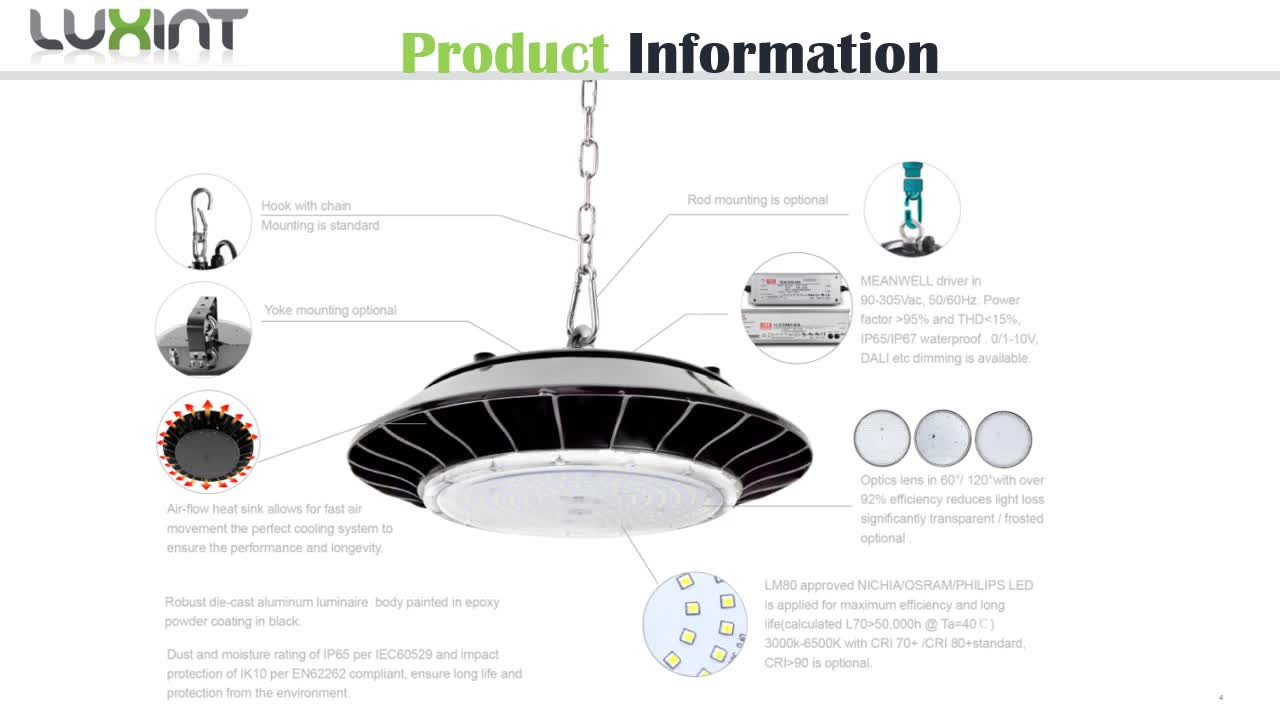 LUXINT New Private Model Industrial Lighting IP65 100W 150w 200W UFO LED High Bay Light outdoor