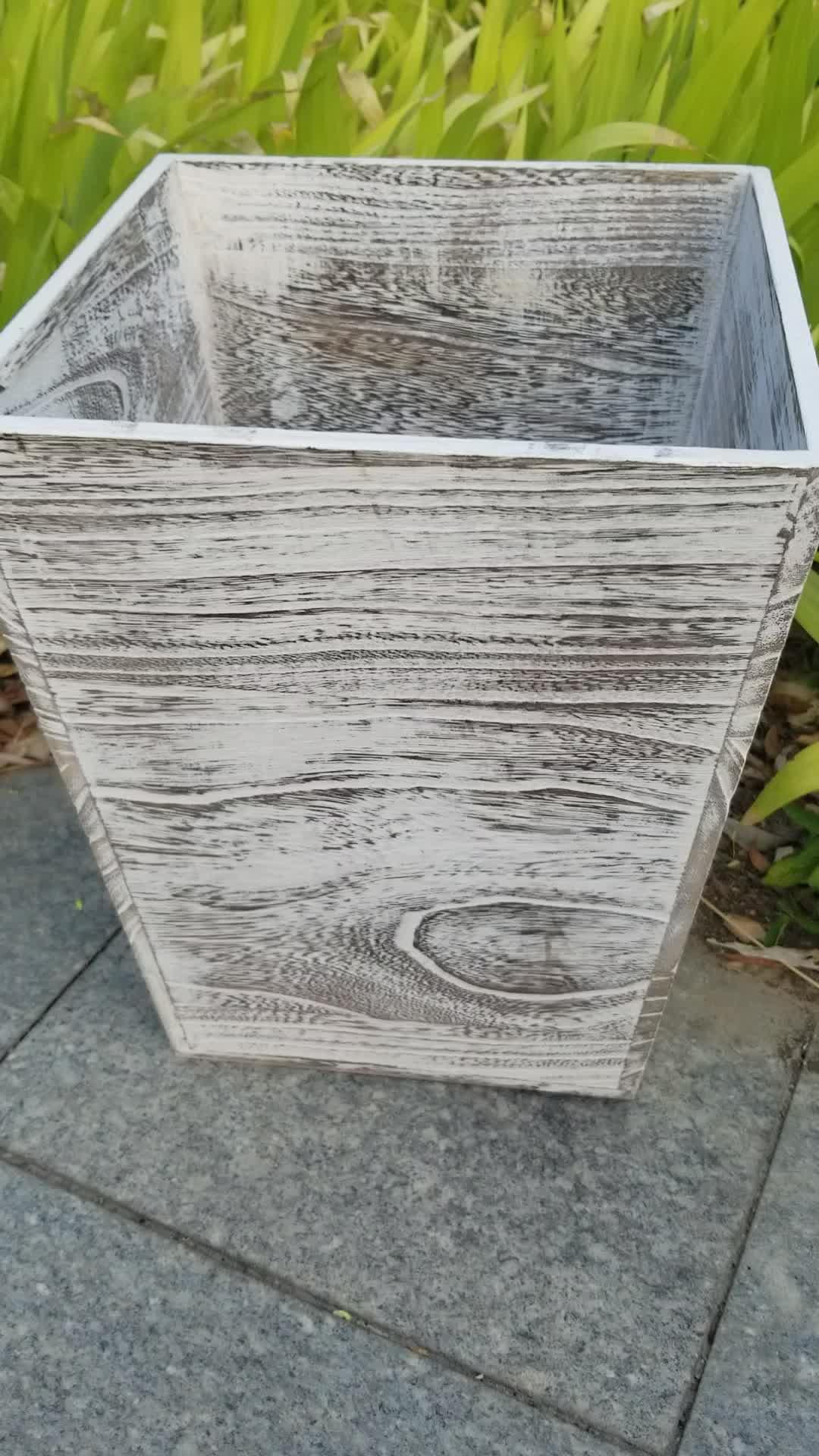 High quality rustic  desk storage holder wooden waste basket