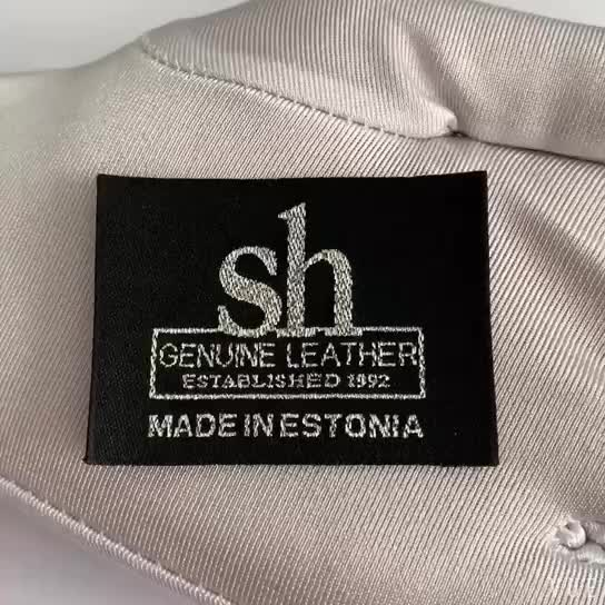 Eco-friendly black background white logo clothes polyester woven size label for coat