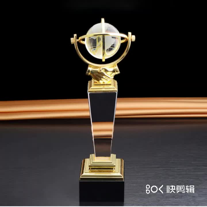 Hot Sell Customized Glass Awards High-Grade Metal Globe Crystal Trophy