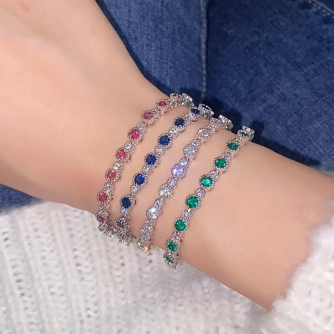 Mode zircone bracelet or blanc plaqué charme bracelet pour les femmes cadeau de noël