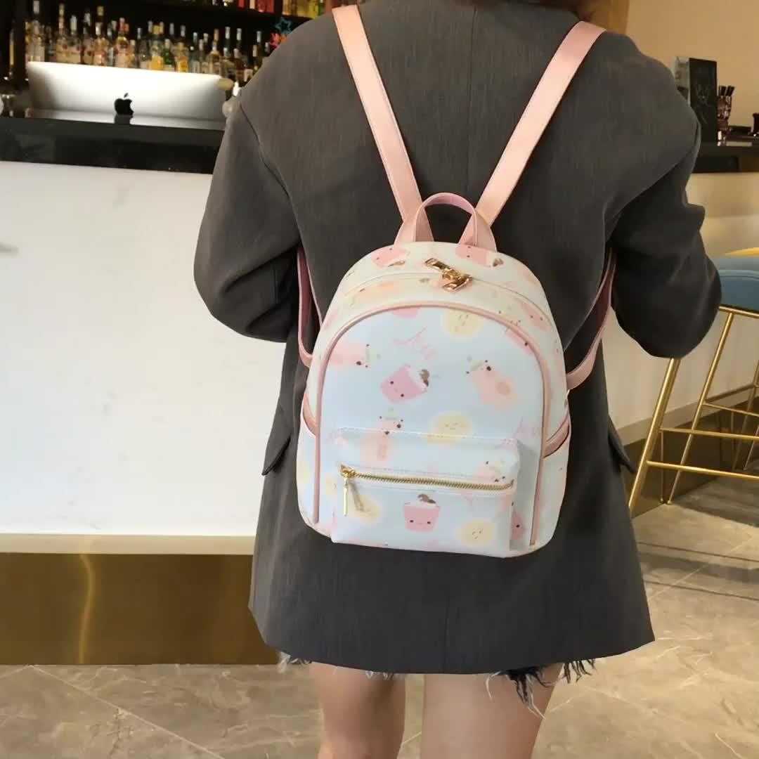 Cartoon animal print shoulder bag light women leather backpack bag