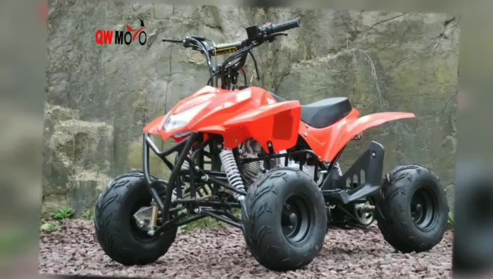 QWMOTO CE 110cc cheap kids gas powered atvs 4 wheeler electric start mini quad bike
