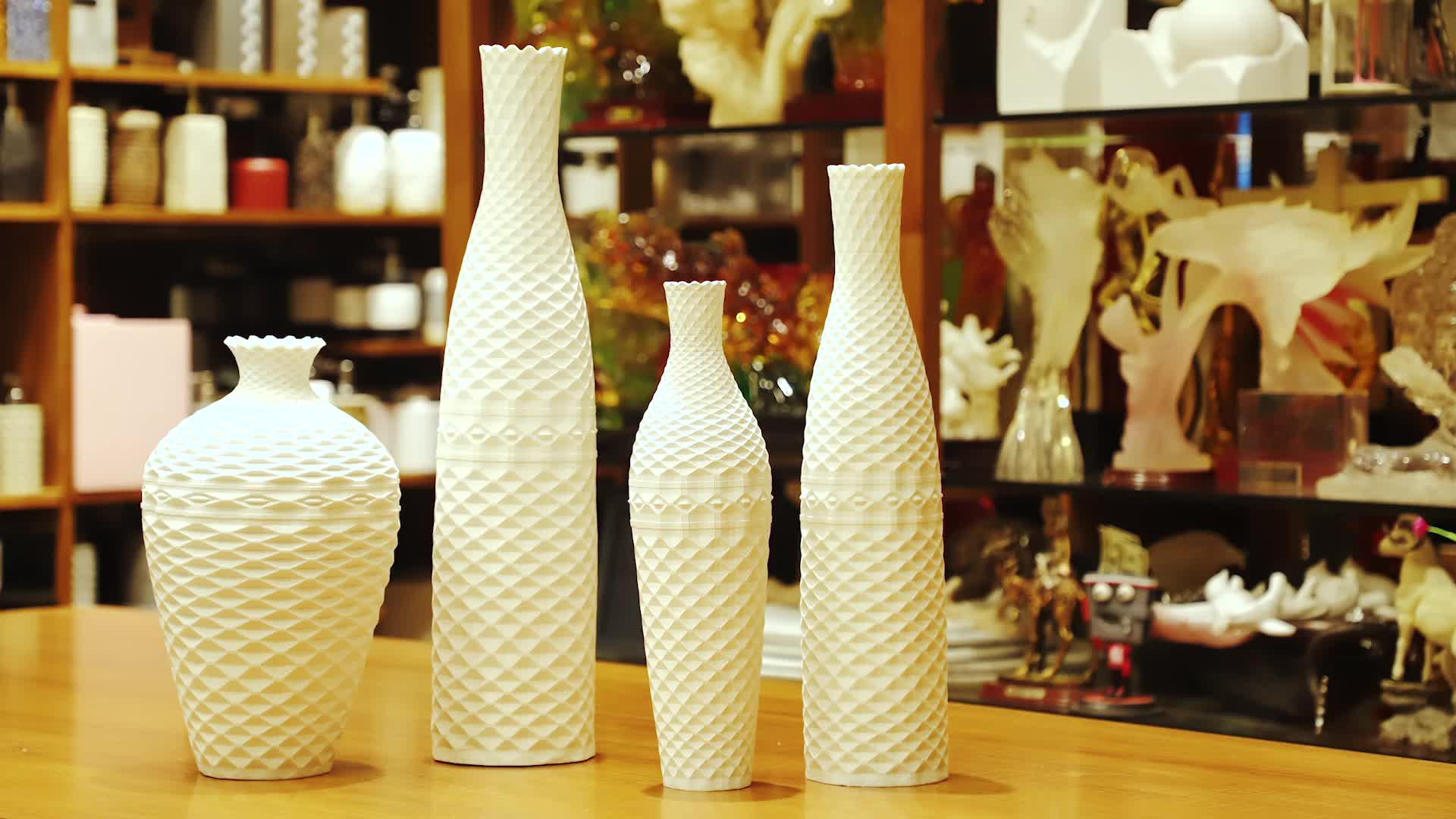 Modern Uzun Buhar Reçine Çiçek Vazo Seti Büyük Çiçek düğün seti Dekorasyon