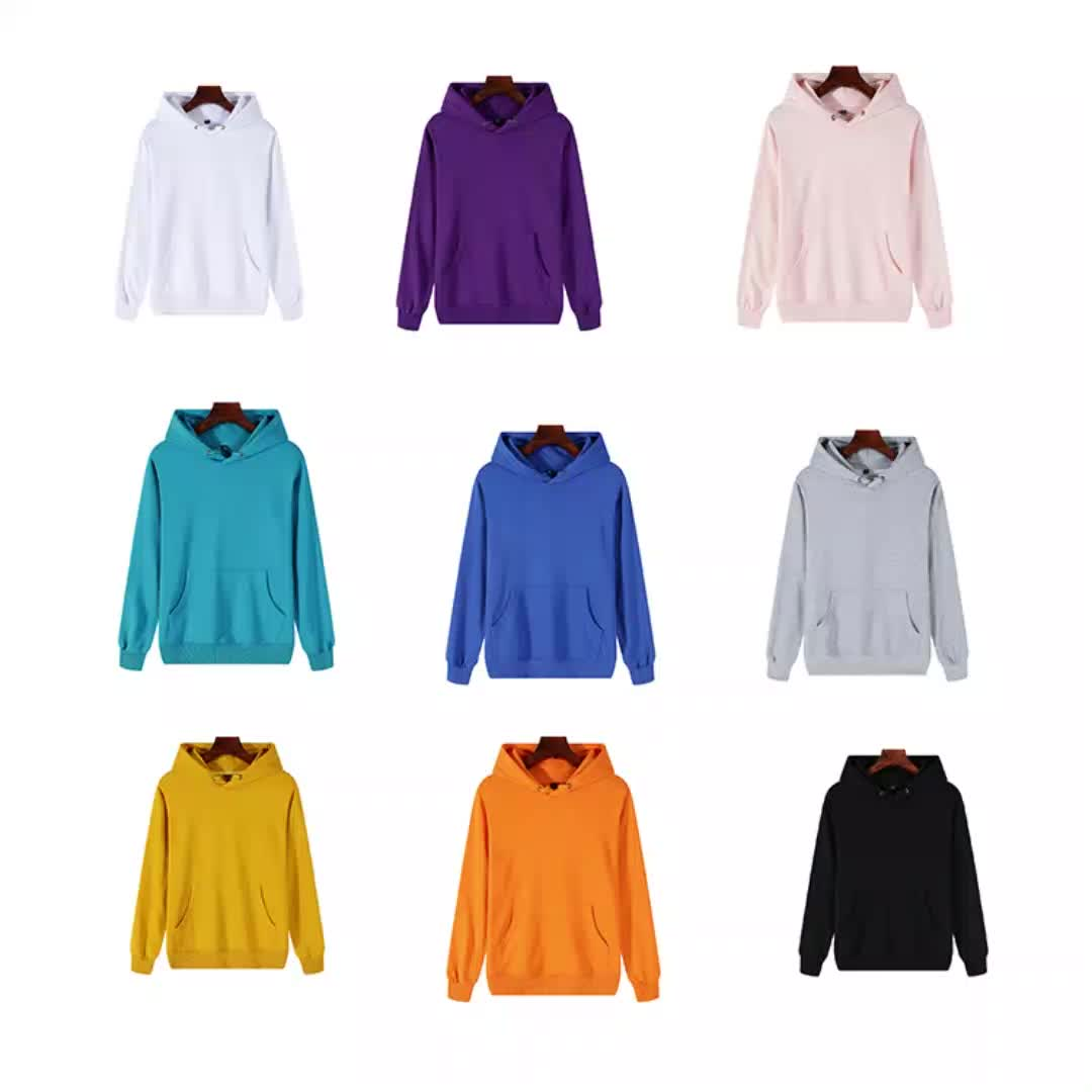 High quality solid oem custom 100% cotton terry hooded sweater men hoodies
