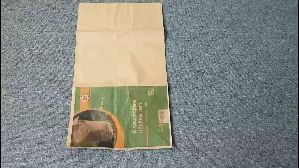 Подгонянный biodegradable коричневый бумажный мешок лист Газон Трава Сад бумажный мешок мусор Wast мешки для мусора