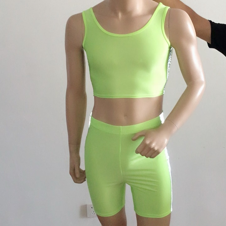 Sexy Side Stripe Reflective Set Neon Womens Clothing Pant Tracksuit 2 Two Piece Set Crop Top and Biker Shorts