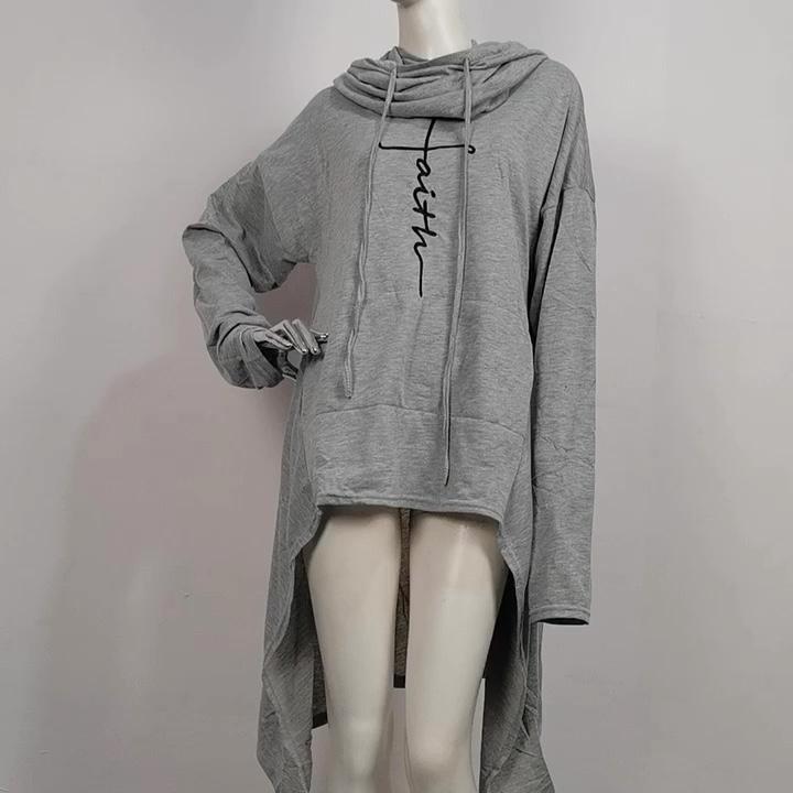 İnanç baskı uzun kollu gevşek Casual kazaklar düzensiz Hem uzun Hoodies kazak elbise kadınlar için Hoodies
