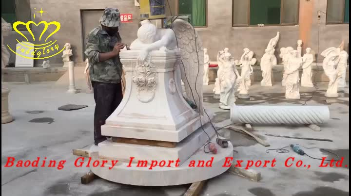 Natural Marble Angel Statue Wings Monument Headstone Tombstone