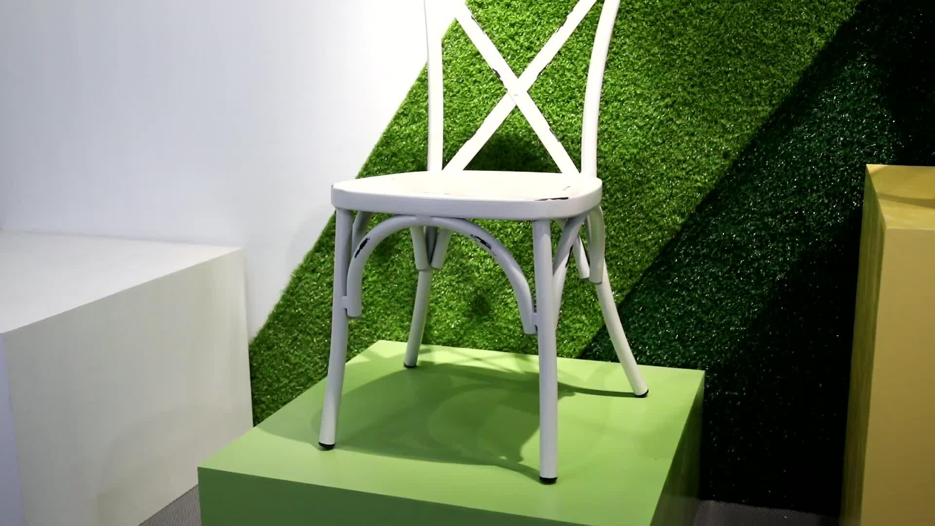 Toptan istiflenebilir alüminyum X sırtlı sandalye düğün ve olay için (E1090S sarı)
