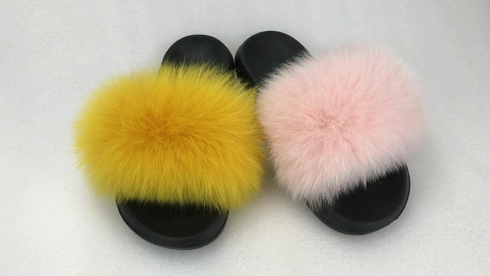 ขายส่งผู้หญิง house fox fur รองเท้าแตะขนสุนัขจิ้งจอกจริงสไลด์สีต่างๆเลือกรองเท้าแตะผู้หญิงรองเท้าแตะ