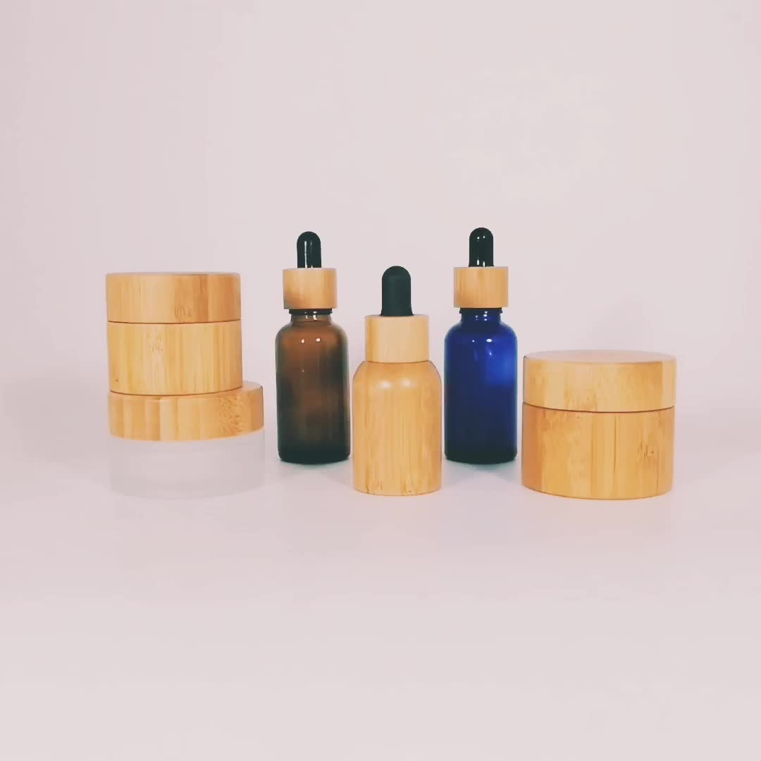 eco friendly bamboo 10ml 15ml 20ml 30ml dropper bottle with pipette