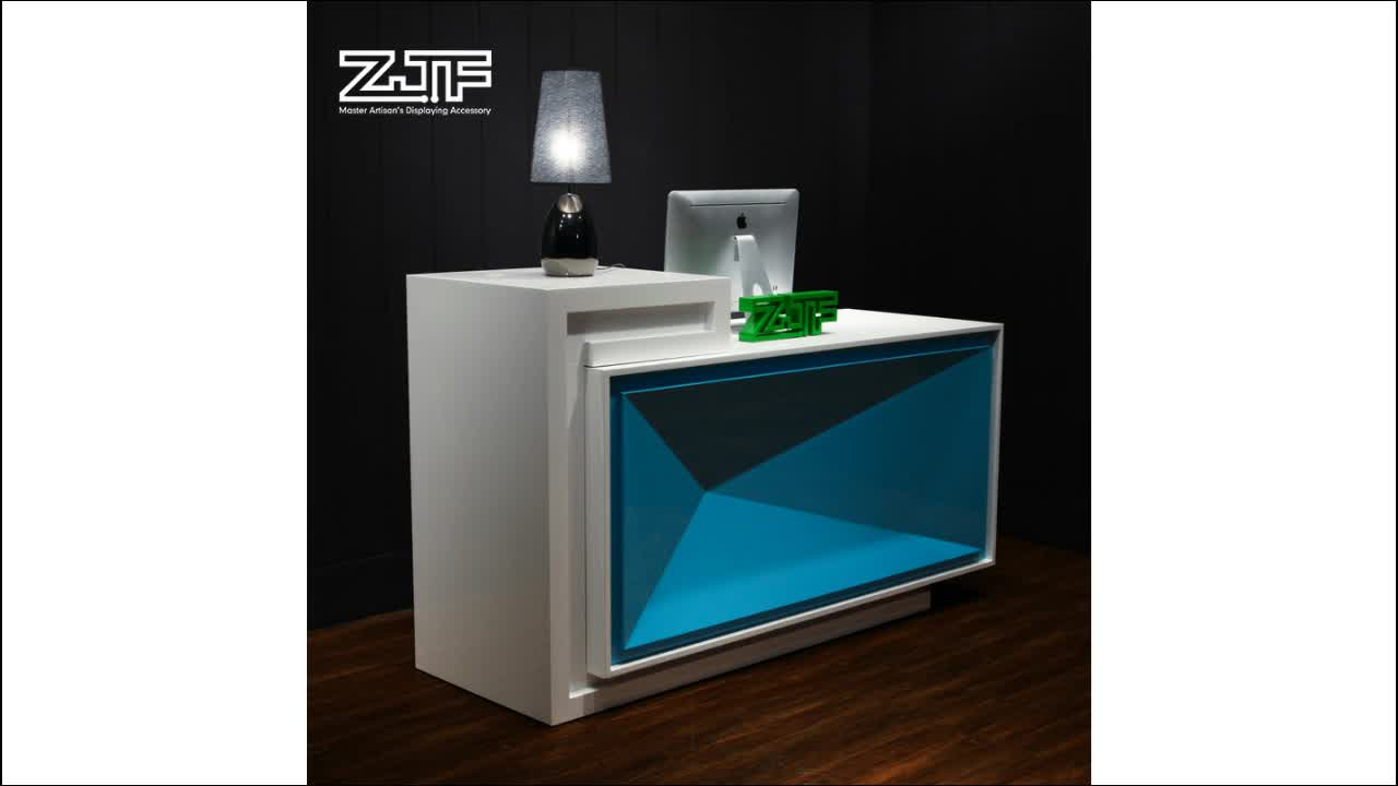 Blue lacquered children clothes shop table counter reception MDF boutique cosmetic reception desk