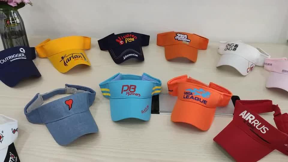 Özel yüksek kaliteli % 100% pamuk nakış logosu ayarlanabilir güneşlik kapağı ve şapka paypal kabul