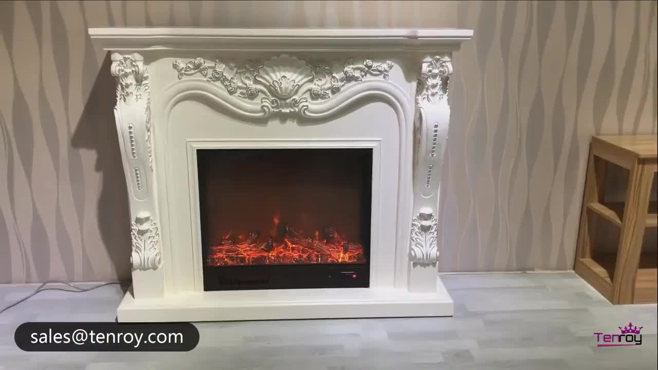 1.6m short electric fireplace with carved