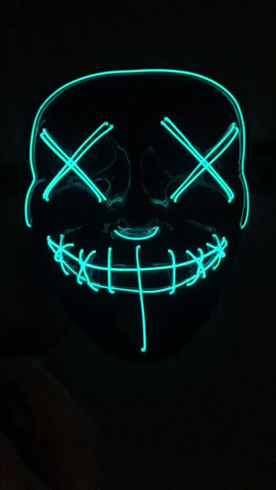 2019 Amazon hotsale halloween decoratie licht up DJ party neon gloeiende el draad rave party masker