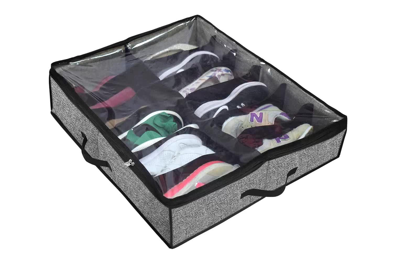 Большой Сверхмощный 12 ячеек мешок для хранения обуви с прозрачной крышкой под кроватью аккуратный Органайзер складной тканевый Держатель Шкаф