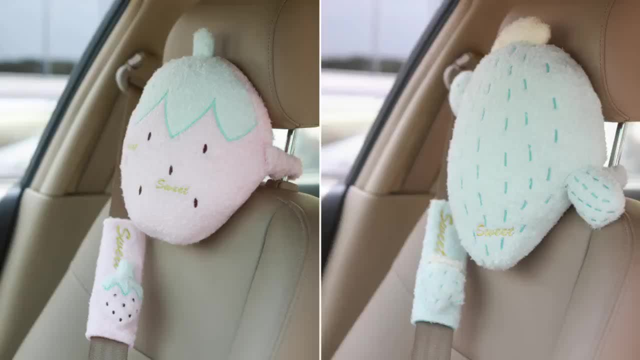 2019 lovely stuffed plush fruits Kids Safety Car Seat Belt Cover Baby Shoulder Pad