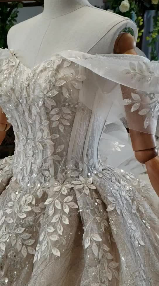 Jancember HTL653 Long Tail Lace Applique lace real sample pictures embroidery bridal wedding dress