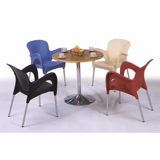 Outdoor modern restaurant stackable plastic chairs tables for events