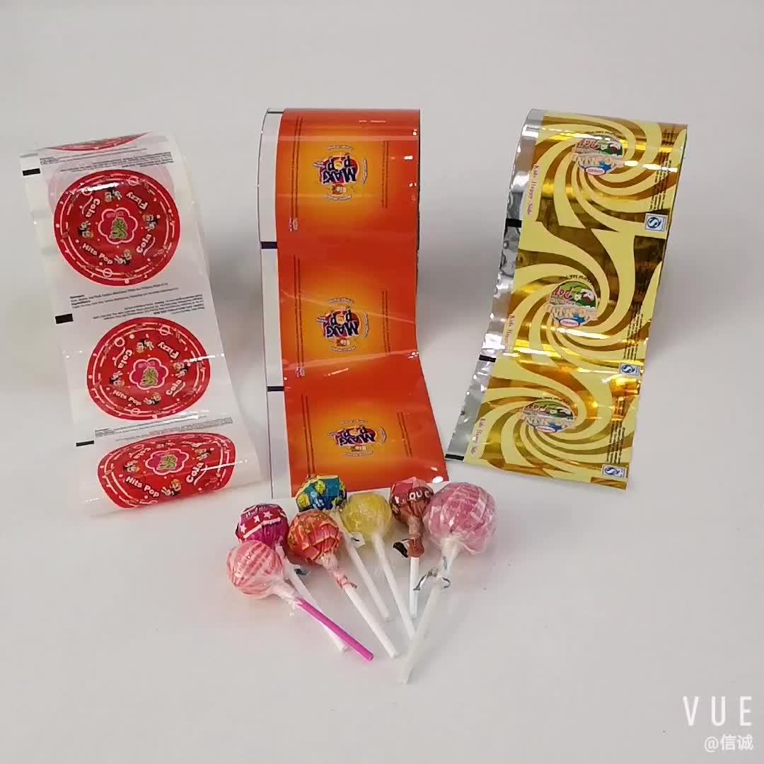 Personalizado cor-impressão torção doces pirulitos wrapper filme pacote