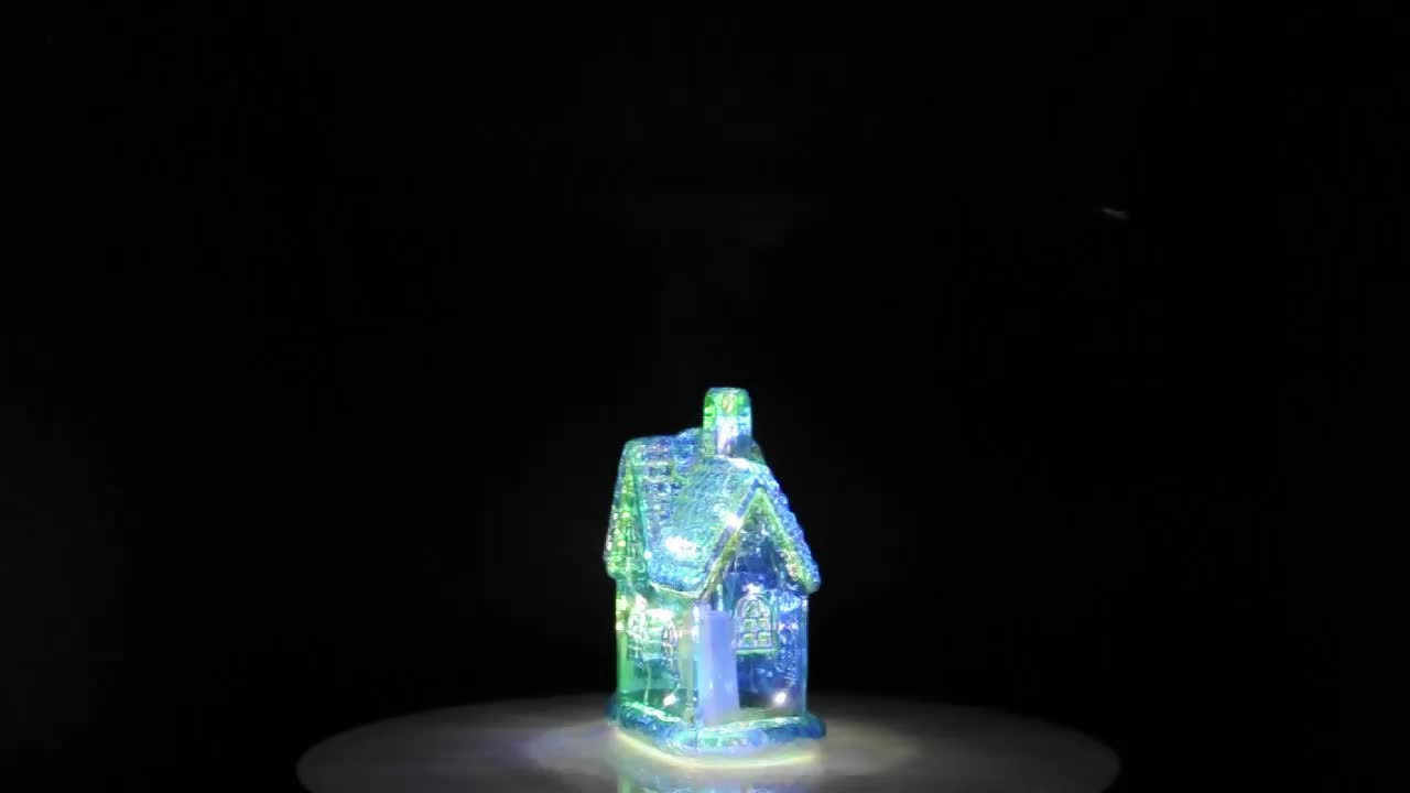 Small blue chinese glass christmas decorating house with led lights