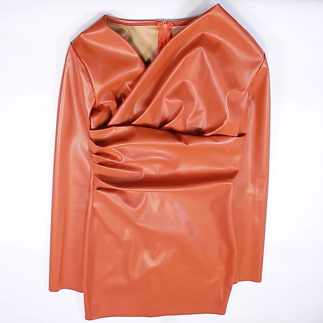 Kliou K20D09679 2021 nuevo llegada otoño apilado Bodycon Mini Pu cuero mujer vestido Casual vestido de