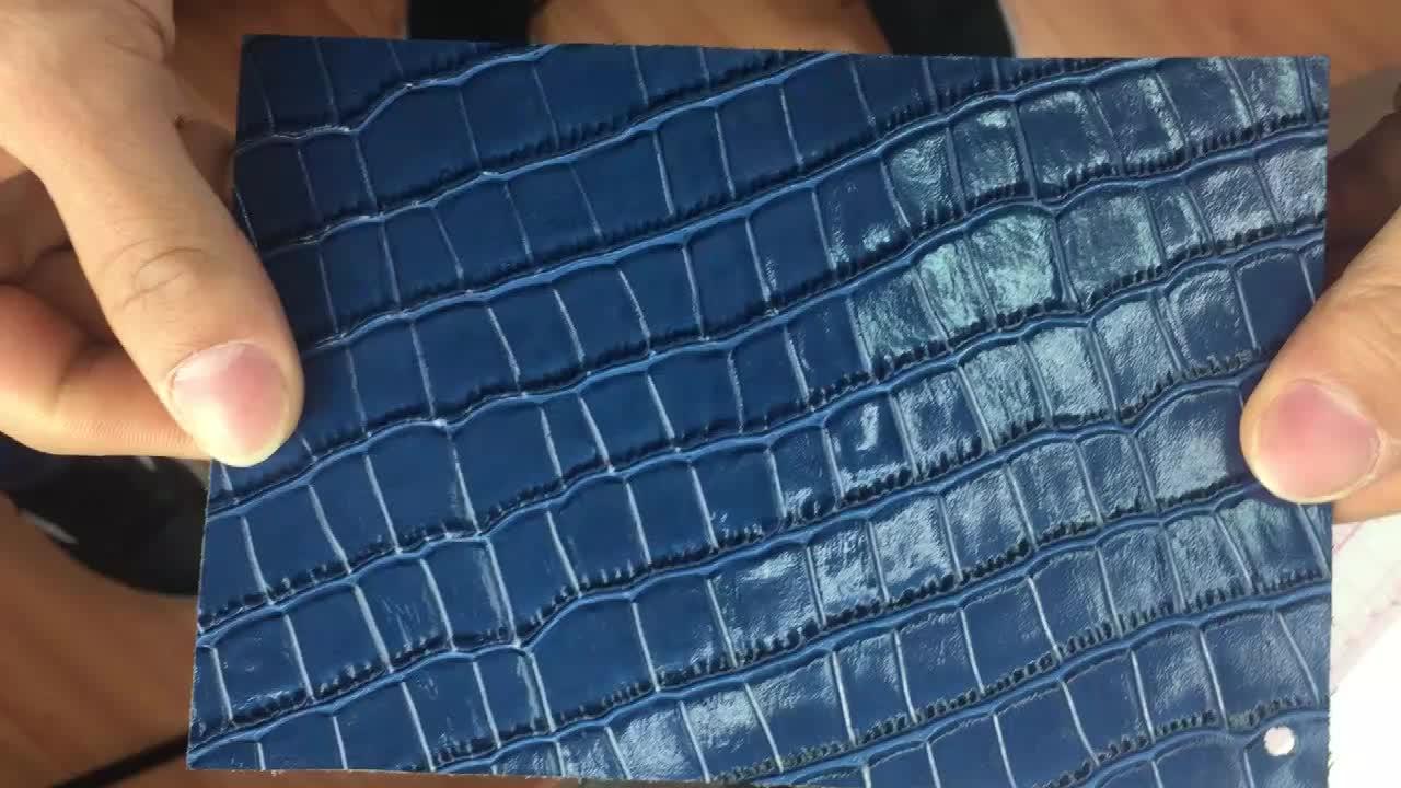 CHSJM0553-3 Mavi Kabartmalı Timsah Üst Tahıl Dana Derisi Hakiki Bitmiş Deri