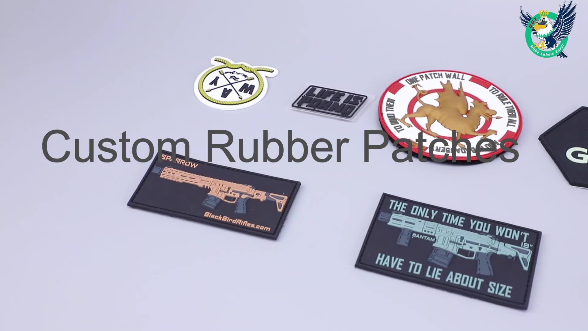 Coser en relieve de marca privada nombre 3D Logotipo de PVC suave de Parche de goma etiquetas para ropa