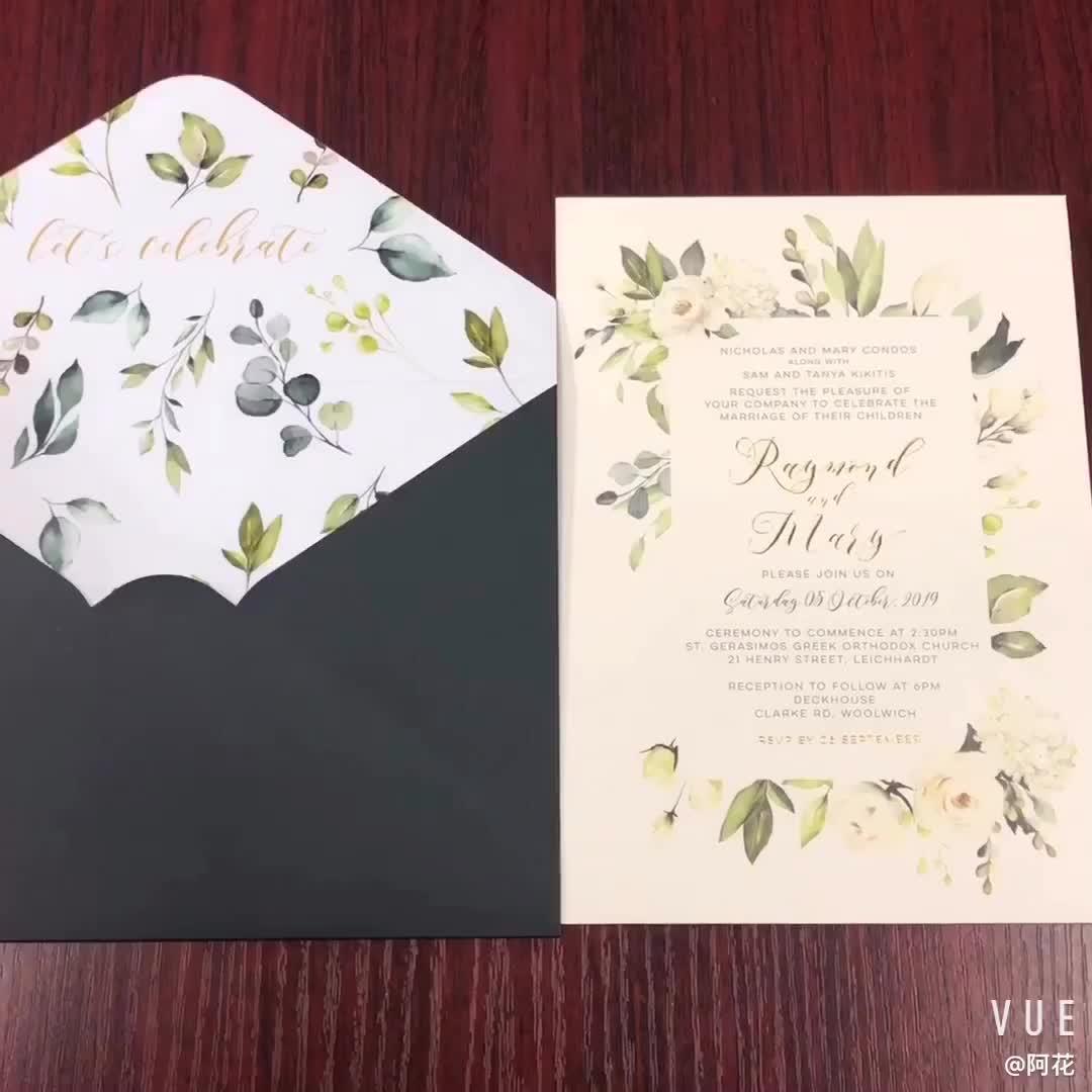 A4 A5 C6 Baby Tiffany Blauwe Envelop V-Flap Met Gouden Folie Voor Sieraden Verpakking