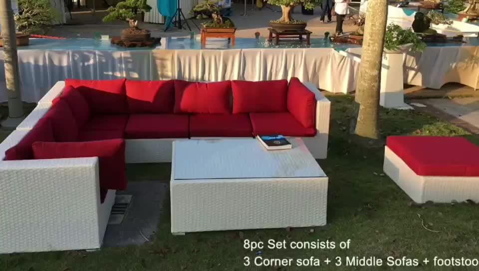 China supplier waterproof  high quality modern outdoor sectional 7 seater sofa set