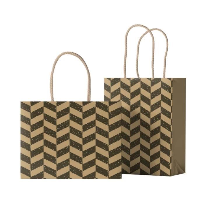 Hongxi Oem Duurzame Platte Bodem Zwarte Custom Levering Verpakking Kraft Kruidenier Tote Papieren Verpakking Gift Bag Met Platte Handgrepen