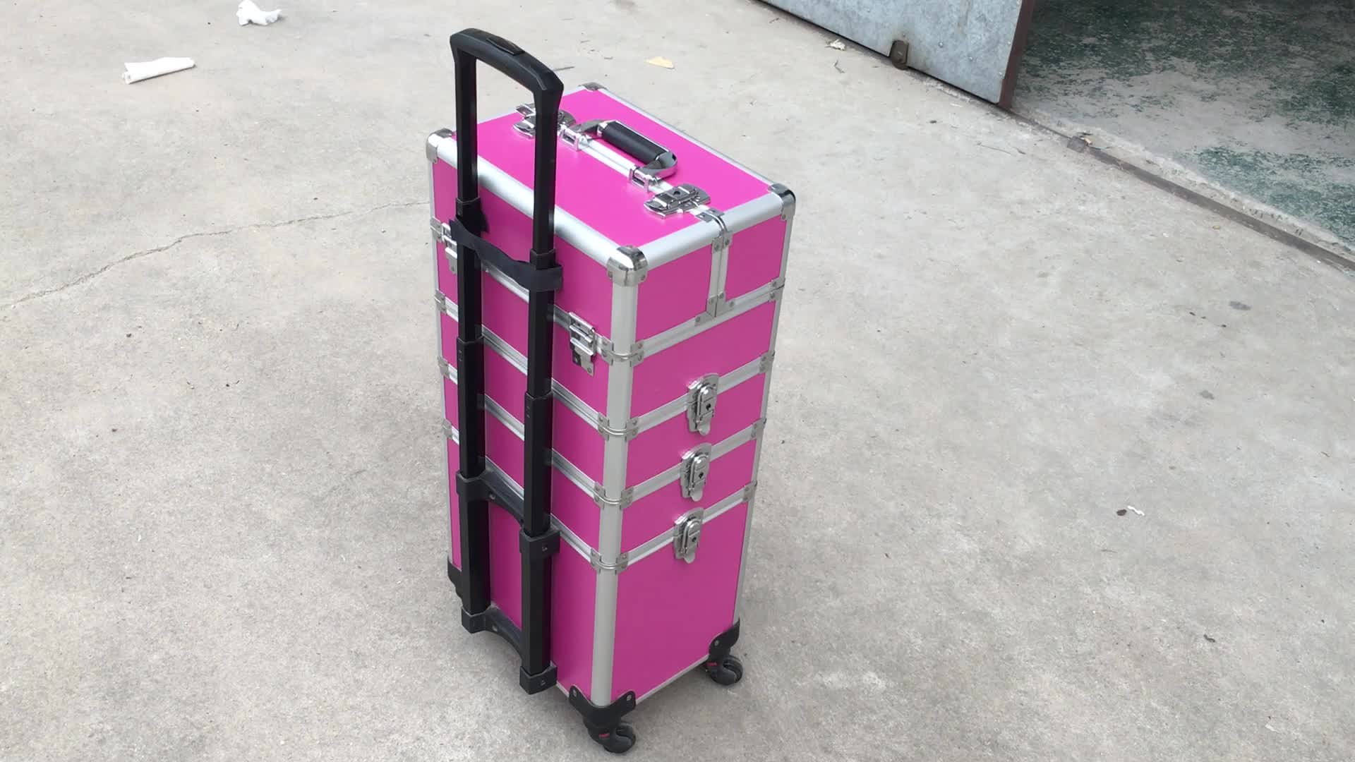 4 In 1 Makeup Beauty Beautify Cosmetic Hairdressing Nail Vanity Case Box Trolley(XY-917)