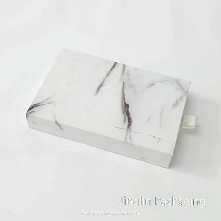 Оптовая продажа Пользовательский логотип жесткая раздвижная коробка ящика причудливая мраморная Подарочная коробка для ювелирных изделий/Аксессуар Коробка для хранения ювелирных изделий с лентой