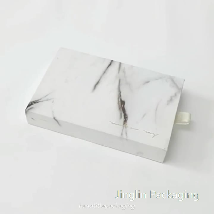 Atacado logotipo personalizado caixa de gaveta deslizante rígida caixa de presente de mármore extravagante para joias/acessórios caixa de armazenamento de joias com fita