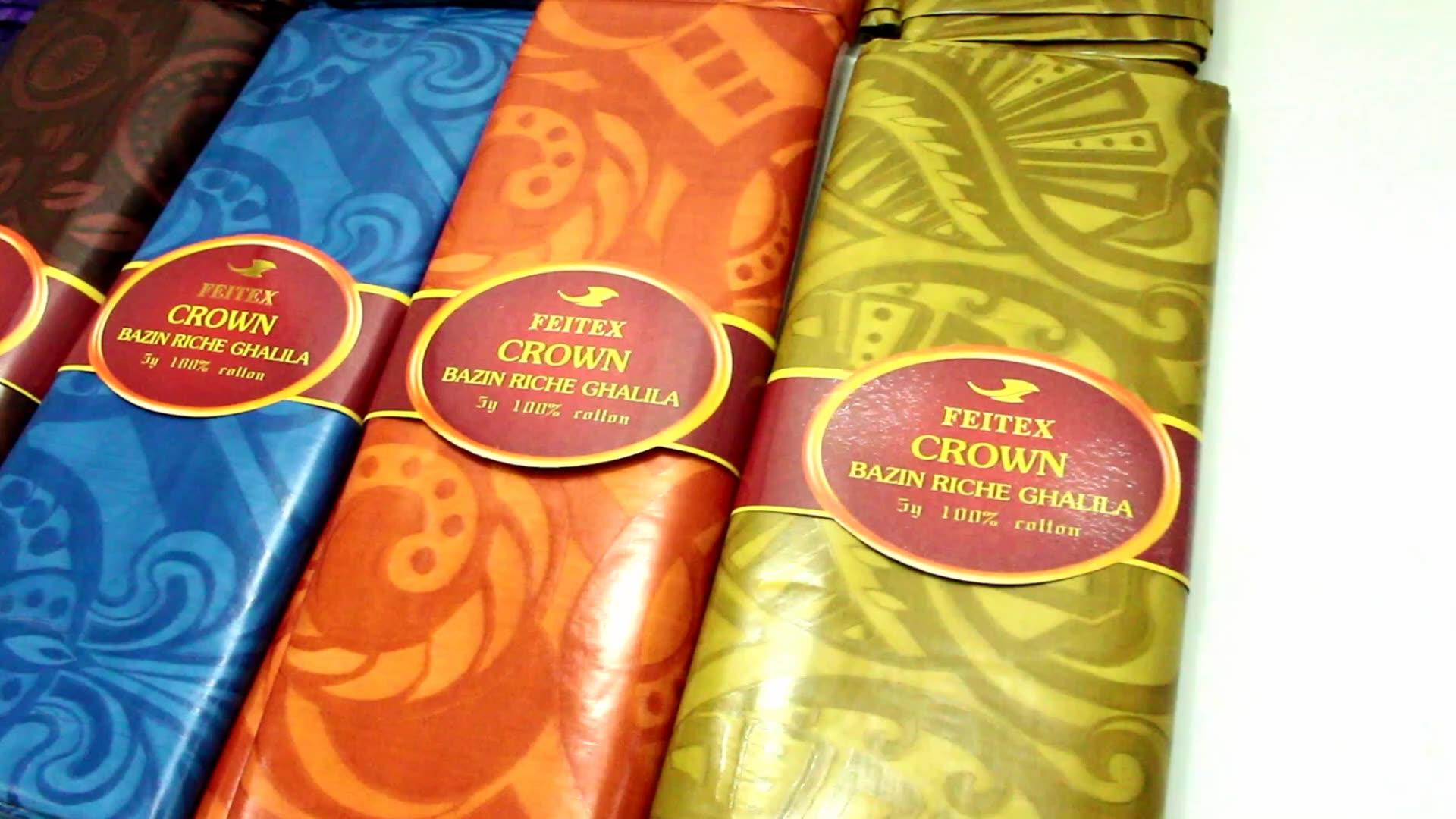 จีนผู้ผลิต bazin เสื้อผ้าแอฟริกันใหม่สิ่งทอหุ้น guinea ผ้า jacquard ถักผ้า